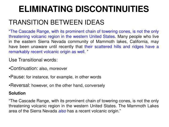 ELIMINATING DISCONTINUITIES