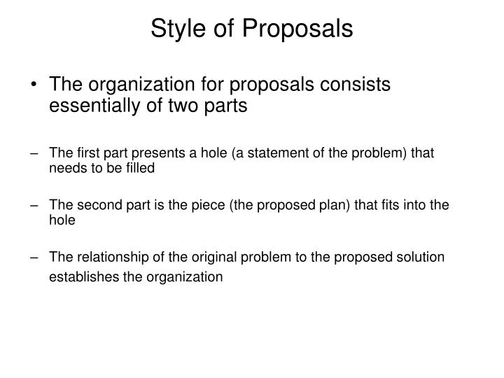 Style of Proposals
