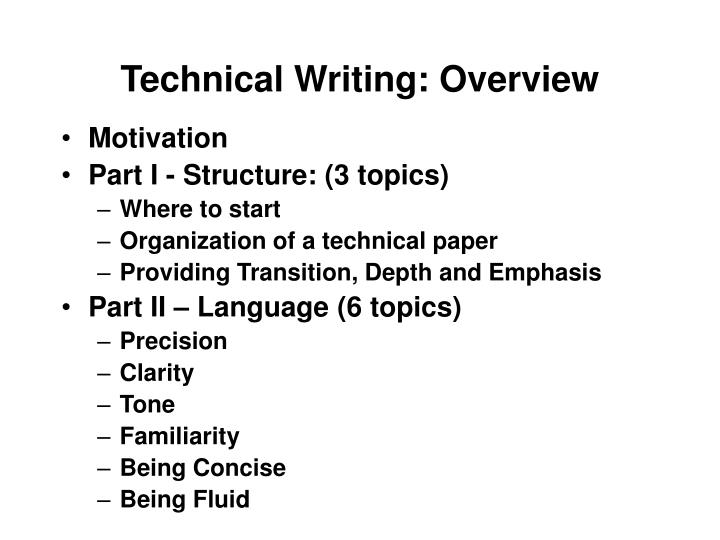 Technical writing overview