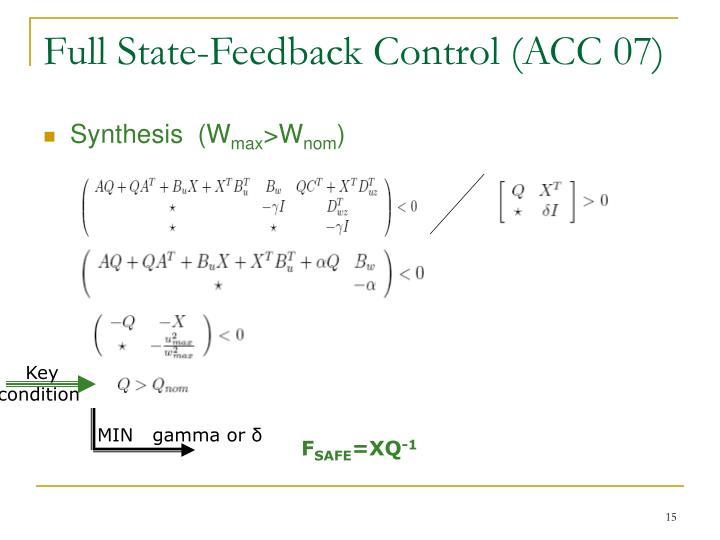 Full State-Feedback Control (ACC 07)
