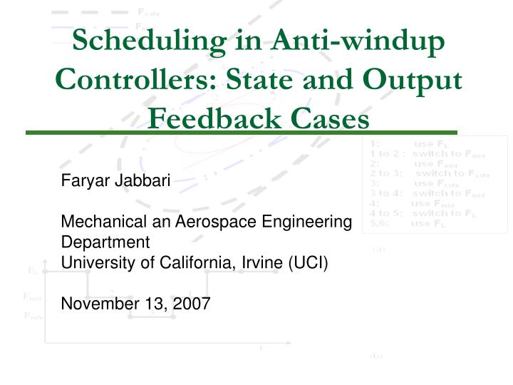 Scheduling in anti windup controllers state and output feedback cases