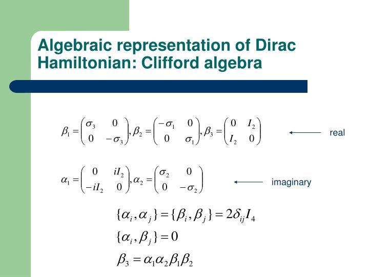 Algebraic representation of Dirac Hamiltonian: Clifford algebra