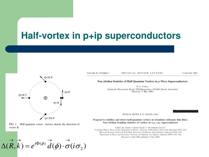 Half-vortex in p+ip superconductors