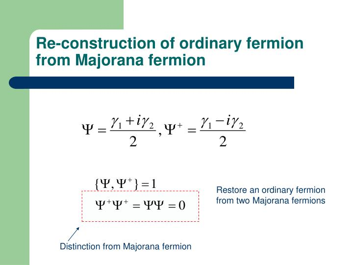 Re-construction of ordinary fermion from Majorana fermion