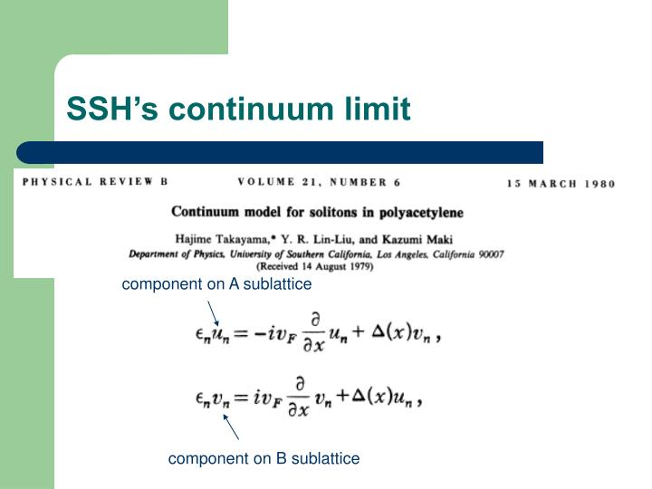 SSH's continuum limit