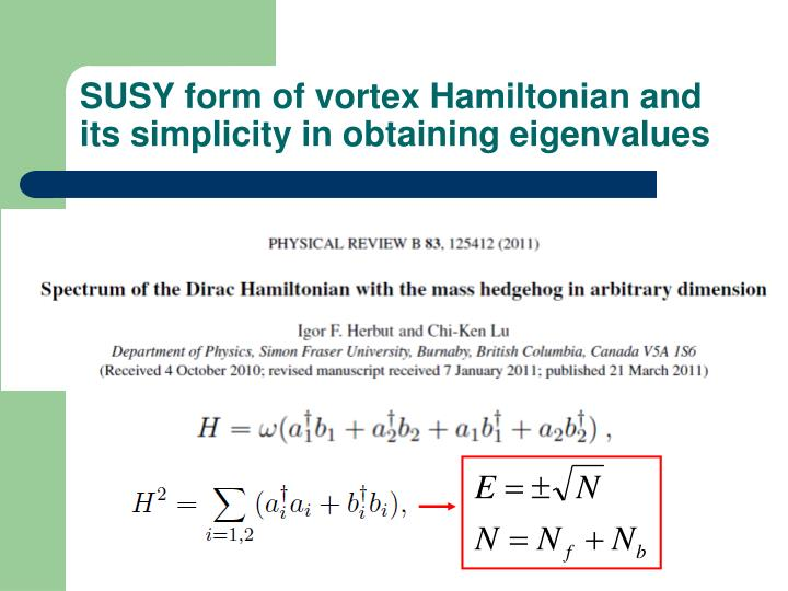SUSY form of vortex Hamiltonian and its simplicity in obtaining eigenvalues