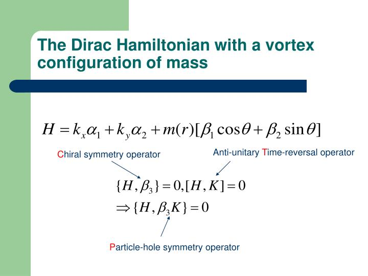 The Dirac Hamiltonian with a vortex configuration of mass