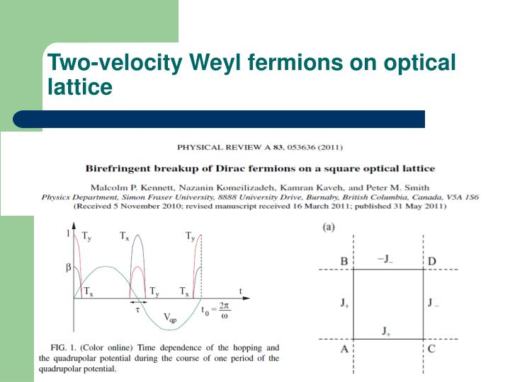Two-velocity Weyl fermions on optical lattice
