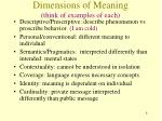 dimensions of meaning think of examples of each