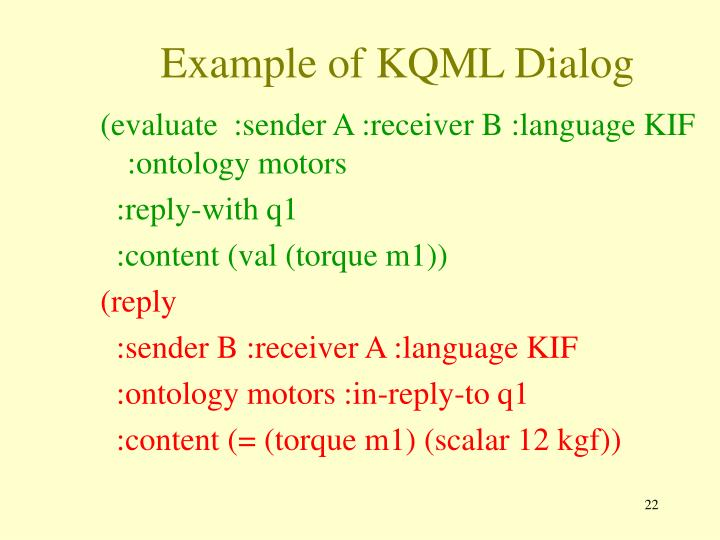 Example of KQML Dialog