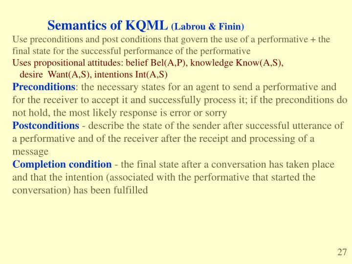 Semantics of KQML