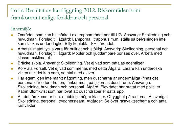Forts. Resultat av kartläggning 2012. Riskområden som framkommit enligt föräldrar och personal.