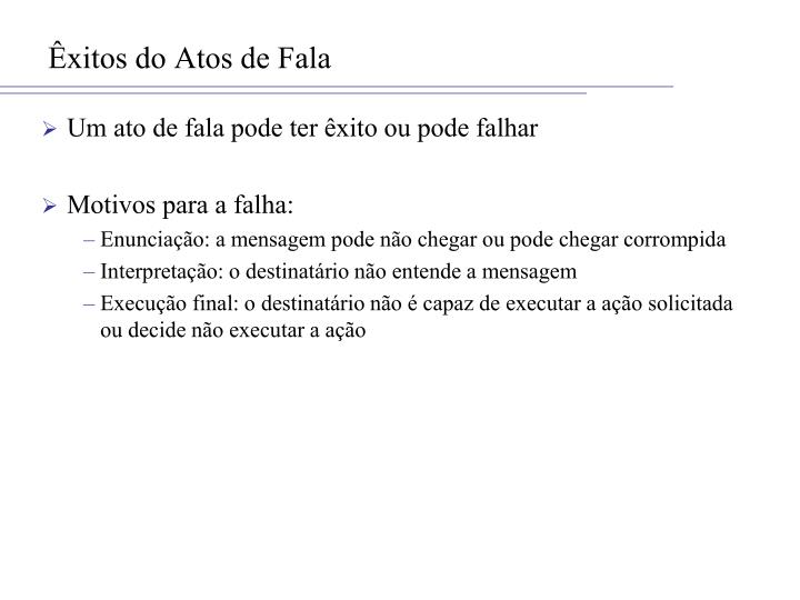 Êxitos do Atos de Fala