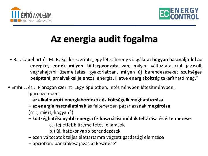 Az energia audit fogalma