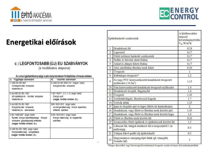 Energetikai előírások