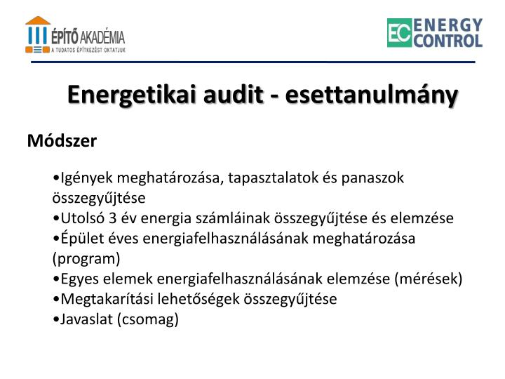 Energetikai audit - esettanulmány