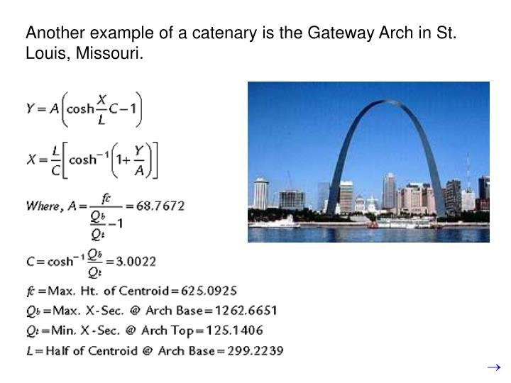Another example of a catenary is the Gateway Arch in St. Louis, Missouri.