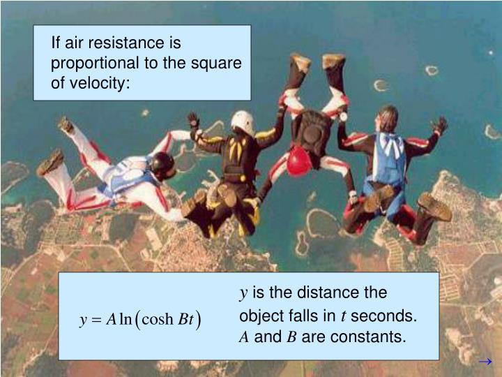 If air resistance is proportional to the square of velocity: