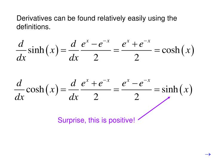Derivatives can be found relatively easily using the definitions.