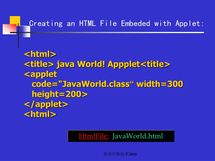 Creating an HTML File Embeded with Applet: