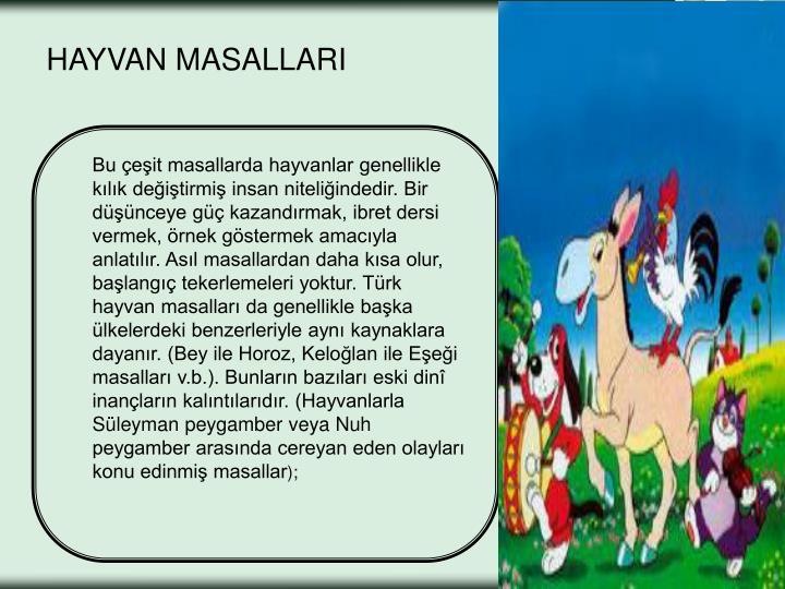 HAYVAN MASALLARI