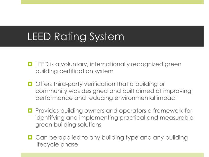 Ppt session one introduction to green buildings and for Leed for homes rating system