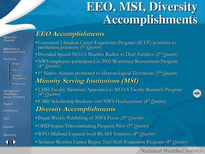 EEO, MSI, Diversity Accomplishments