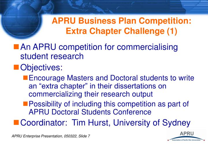 APRU Business Plan Competition:  Extra Chapter Challenge (1)