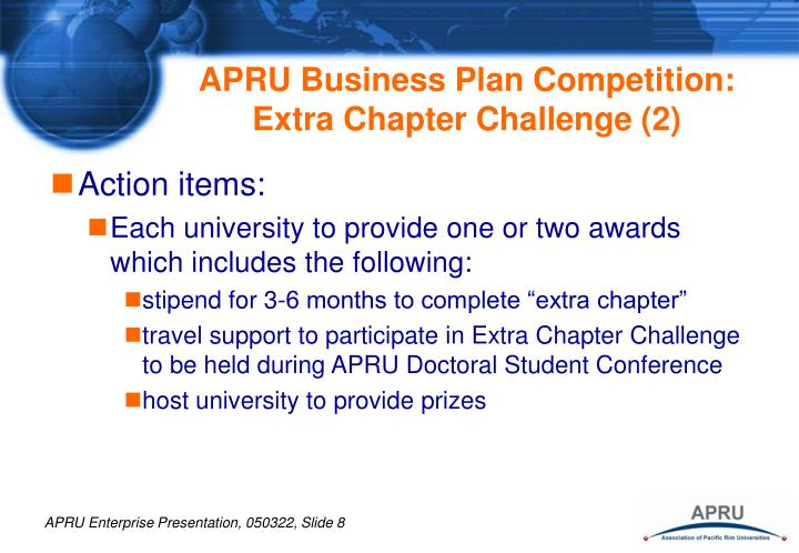 APRU Business Plan Competition:  Extra Chapter Challenge (2)
