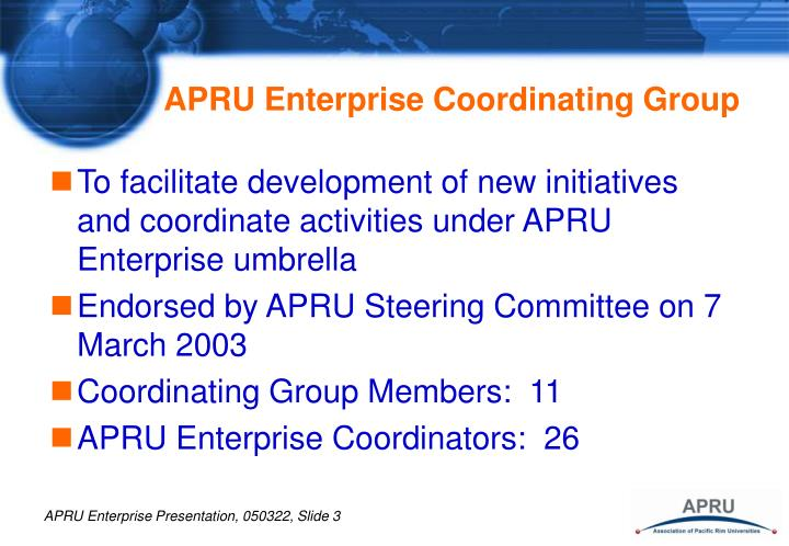 Apru enterprise coordinating group