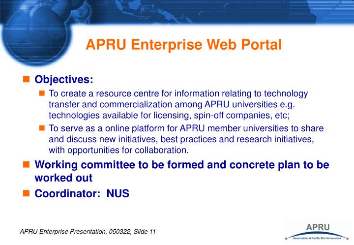 APRU Enterprise Web Portal
