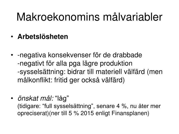 Makroekonomins målvariabler