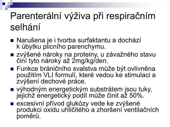 Parenterální výživa při respiračním selhání