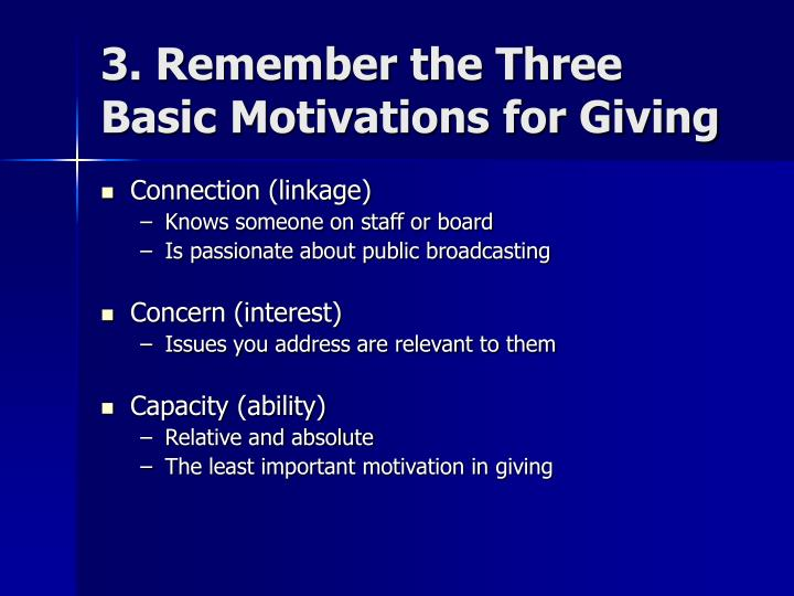 3. Remember the Three Basic Motivations for Giving
