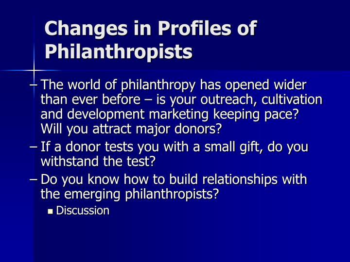 Changes in Profiles of Philanthropists