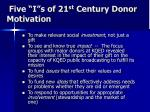 five i s of 21 st century donor motivation