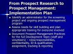 from prospect research to prospect management implementation plan