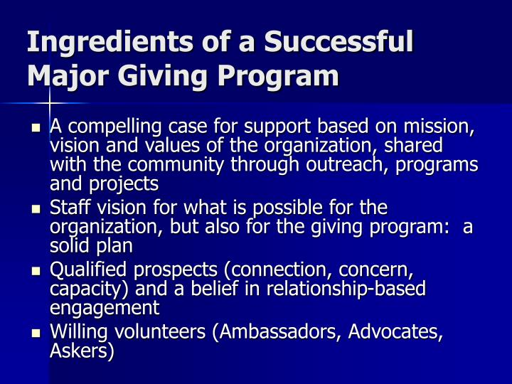 Ingredients of a Successful Major Giving Program