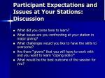 participant expectations and issues at your stations discussion