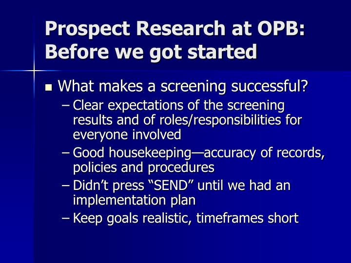 Prospect Research at OPB: