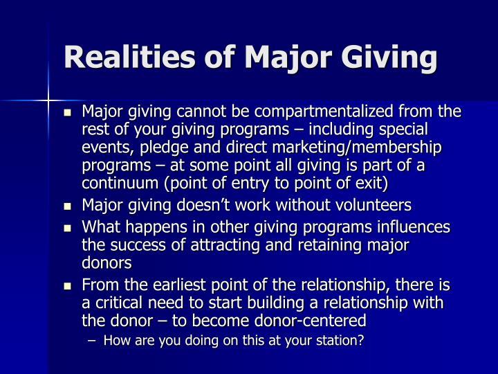 Realities of Major Giving