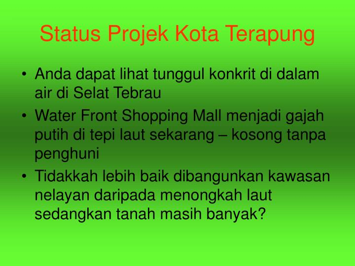 Status Projek Kota Terapung