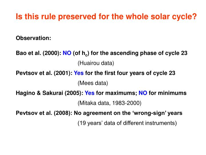 Is this rule preserved for the whole solar cycle?