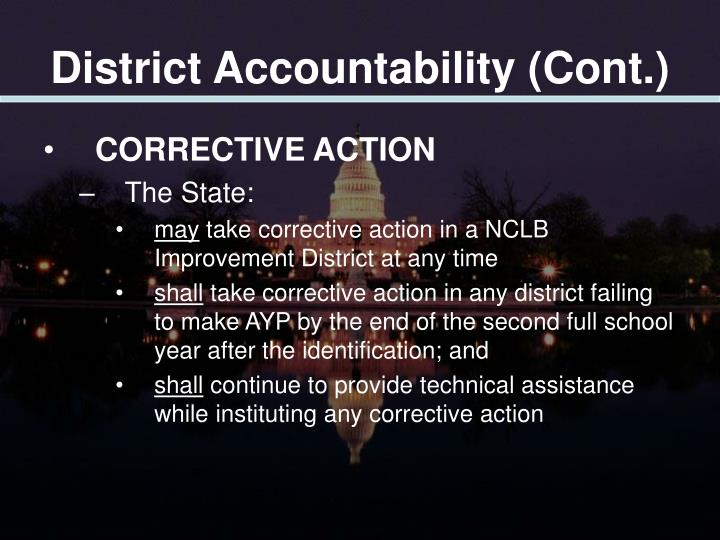 District Accountability (Cont.)