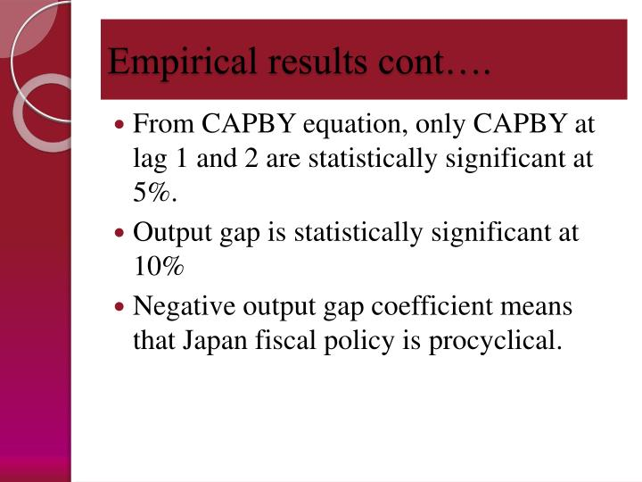 Empirical results cont….