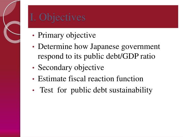 I. Objectives