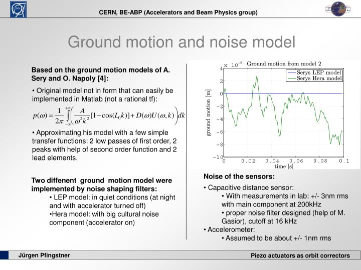 Ground motion and noise model