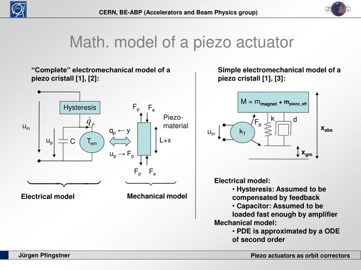 Math. model of a piezo actuator