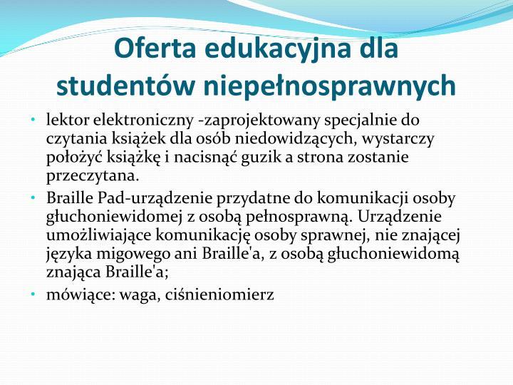 Oferta edukacyjna dla