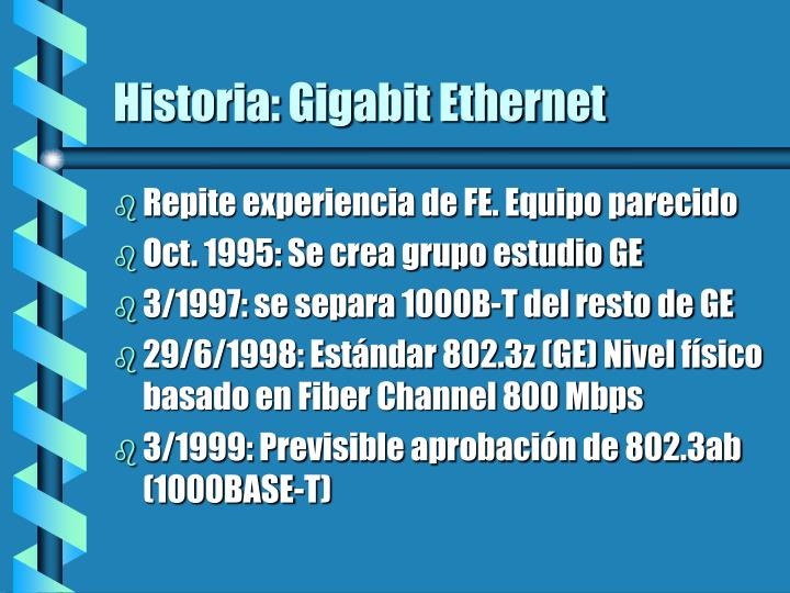 Historia: Gigabit Ethernet